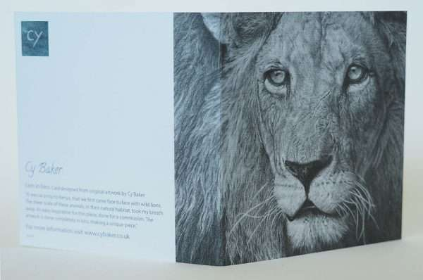Lion card front and back