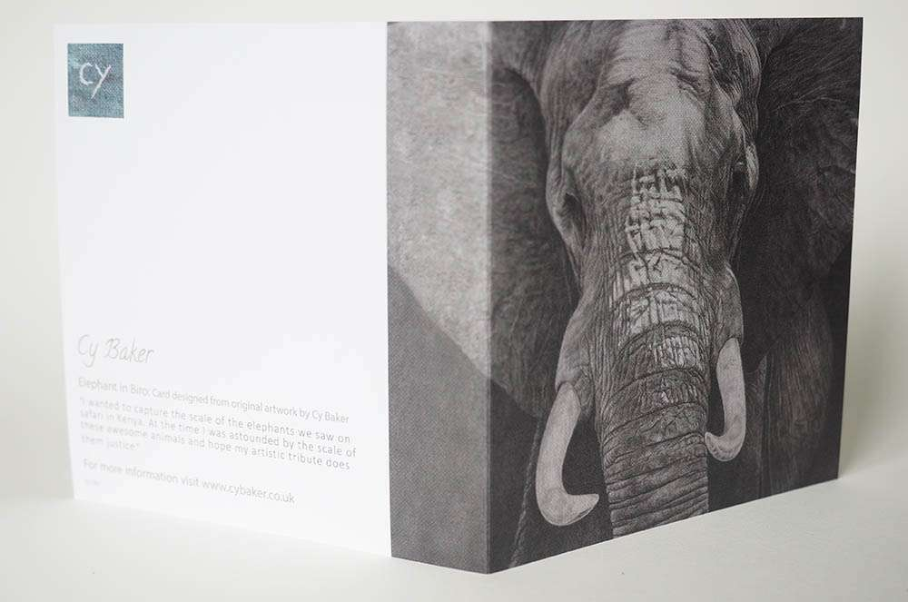 Front and back of the elephant card