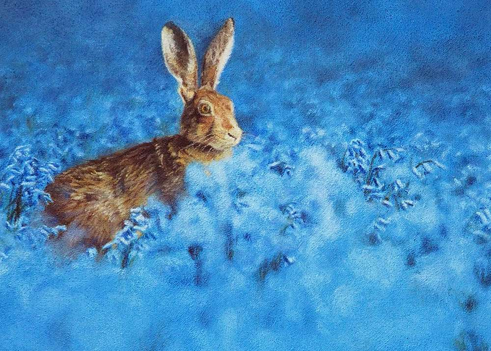 Hare in Bluebells detail