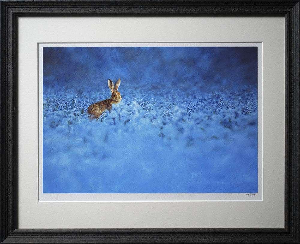 Hare in bluebells print in dark frame
