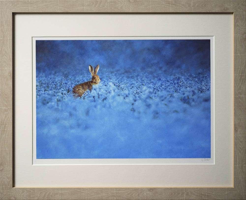 Hare in bluebells print in light frame