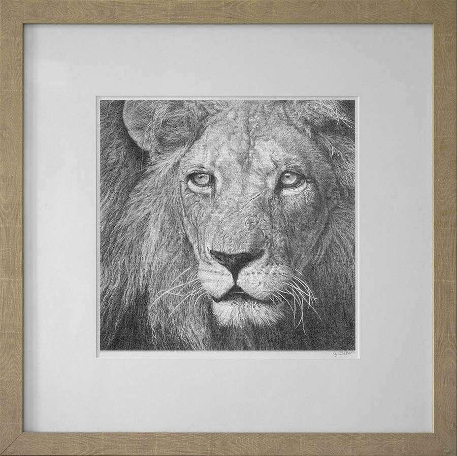 lion print in light frame