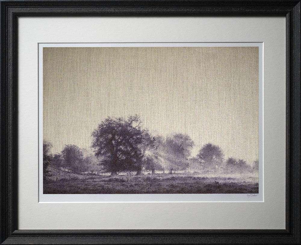 New Forest Dawn print in dark frame