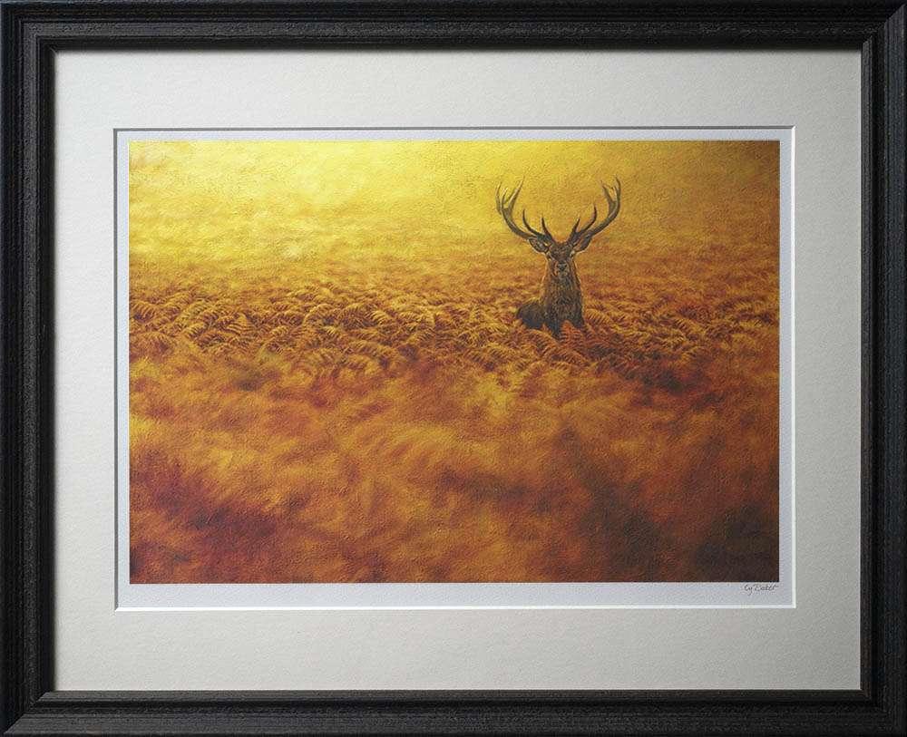 Red deer in bracken print in dark frame