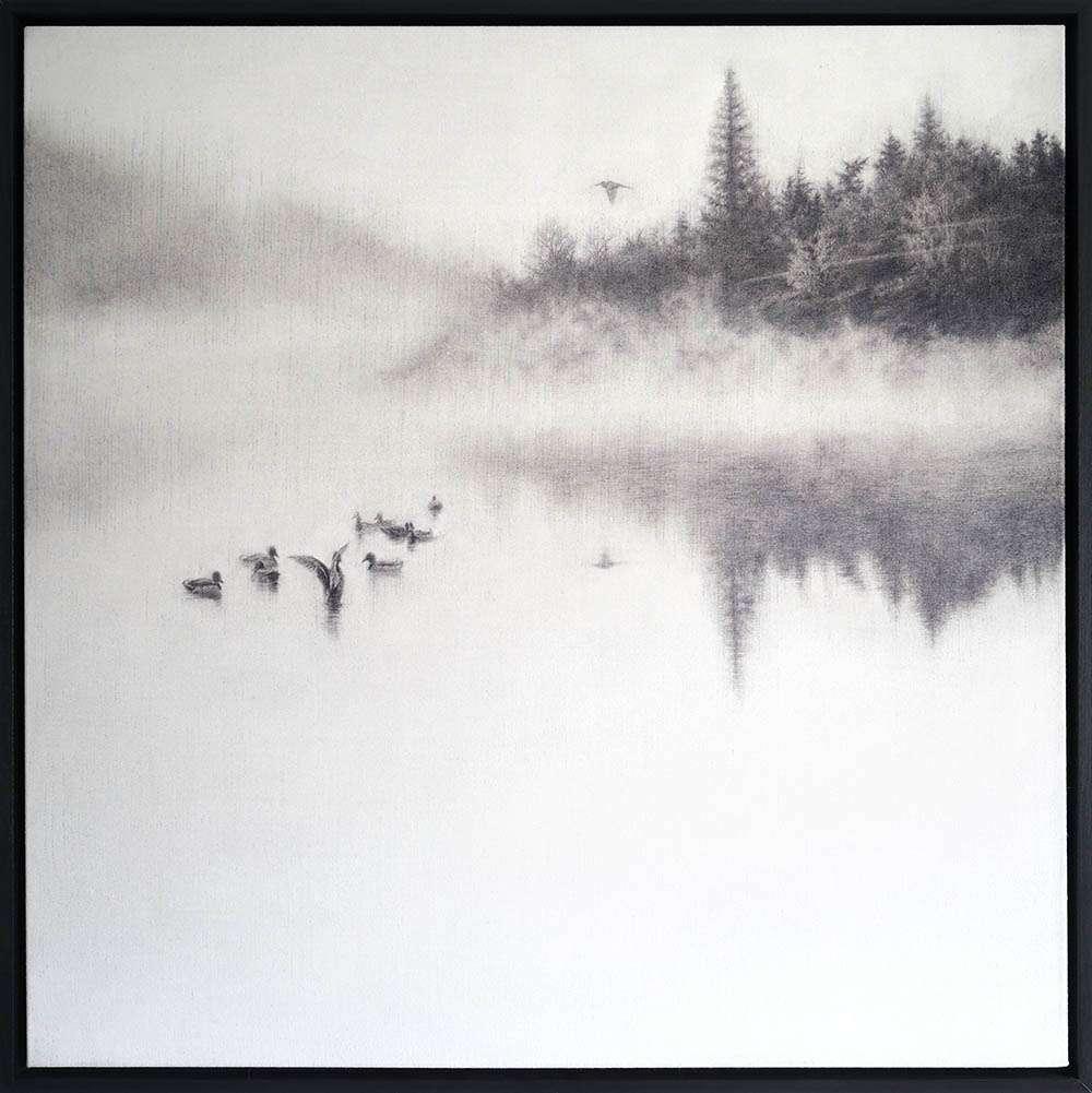 Framed original Morning on the Lake