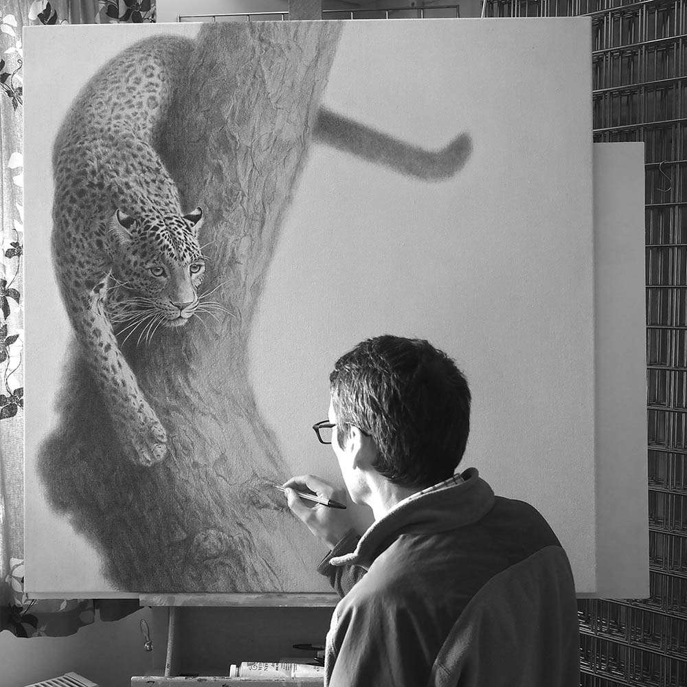 Me drawing the Masai Leopard
