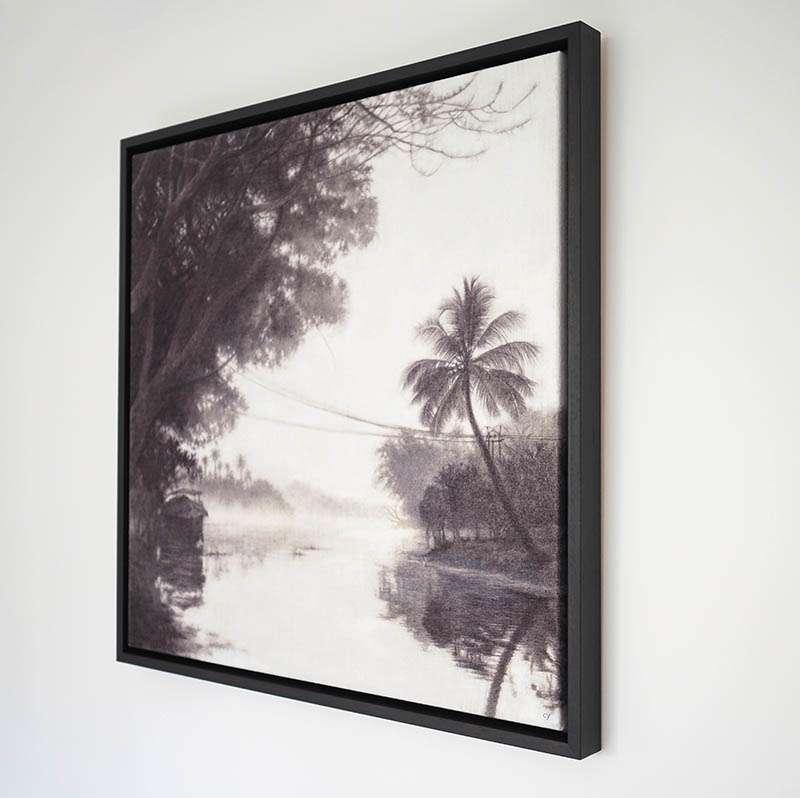 Original framed Keralan Backwaters at an angle