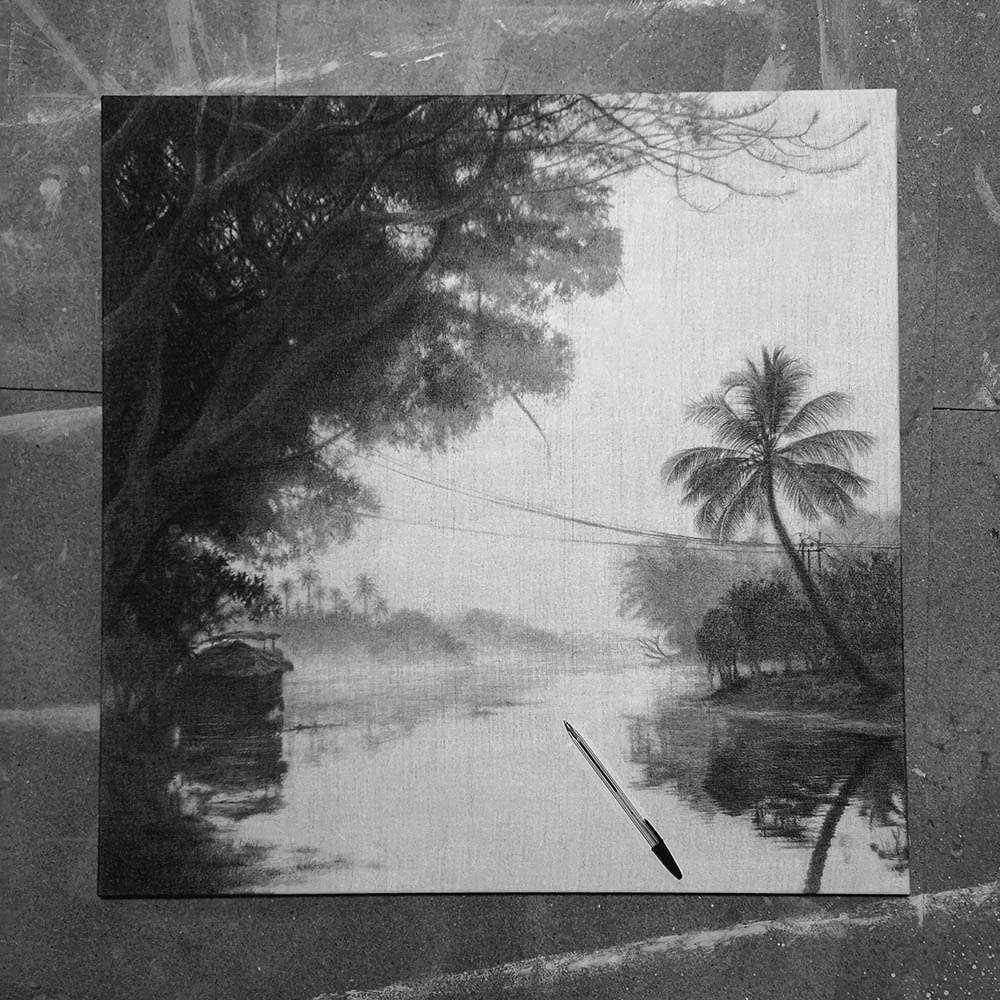 Original unframed Keralan Backwaters in work