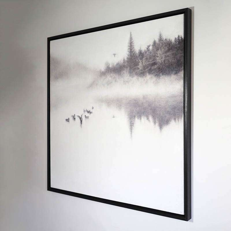 Original framed Morning on the Lake at an angle