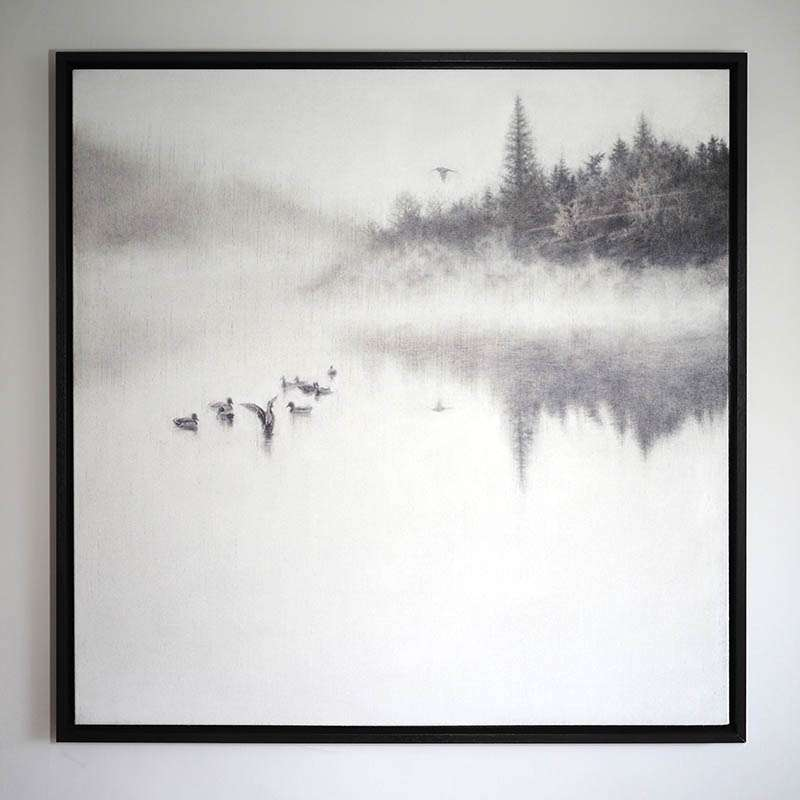 Original framed Morning on the Lake wall art